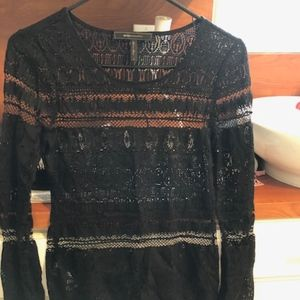 BCBG crochet long sleeve top size small